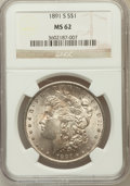 Morgan Dollars, 1891-S $1 MS62 NGC. NGC Census: (849/3245). PCGS Population(1260/4939). Mintage: 5,296,000. Numismedia Wsl. Price for prob...