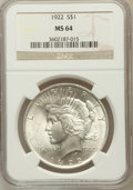 Peace Dollars, 1922 $1 MS64 NGC. NGC Census: (78884/15784). PCGS Population(41265/6342). Mintage: 51,737,000. Numismedia Wsl. Price for p...