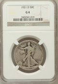 Walking Liberty Half Dollars, 1921-D 50C Good 4 NGC. NGC Census: (145/847). PCGS Population(216/1435). Mintage: 208,000. Numismedia Wsl. Price for probl...