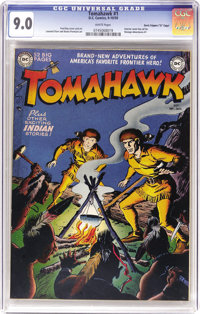 """Tomahawk #1 Davis Crippen (""""D"""" Copy) pedigree (DC, 1950) CGC VF/NM 9.0 White pages. Fred Ray's superb art was..."""