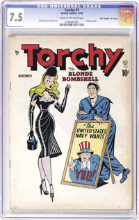 """Torchy #1 Davis Crippen (""""D"""" Copy) pedigree (Quality, 1949) CGC VF- 7.5 Cream to off-white pages. It's time fo..."""