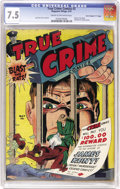 "Golden Age (1938-1955):Crime, True Crime Comics #2 Davis Crippen (""D"" Copy) pedigree (Magazine Village, 1947) CGC VF- 7.5 Cream to off-white pages. The pr..."