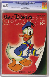 "Walt Disney's Comics and Stories #1 Davis Crippen (""D"" Copy) pedigree (Dell, 1940) CGC FN+ 6.5 Off-white to wh..."