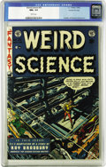 "Golden Age (1938-1955):Science Fiction, Weird Science #20 Gaines File pedigree 4/11 (EC, 1953) CGC NM+ 9.6White pages. ""Alone in space with fifty frozen dolls,..."