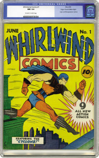 Whirlwind Comics #1 Mile High pedigree (Nita Publication, 1940) CGC NM 9.4 Off-white to white pages. The Cyclone roars i...