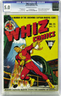 "Golden Age (1938-1955):Superhero, Whiz Comics #25 (Fawcett, 1941) CGC VG/FN 5.0 Off-white to white pages. This issue's dynamic ""shoulder to the grindstone"" co..."