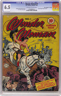 """Golden Age (1938-1955):Superhero, Wonder Woman #1 Davis Crippen (""""D"""" Copy) pedigree (DC, 1942) CGC FN+ 6.5 Off-white to white pages. Ranked among the 30 most ..."""