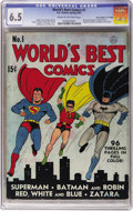 """Golden Age (1938-1955):Superhero, World's Best Comics #1 Davis Crippen ('D"""" Copy) pedigree (DC, 1941) CGC FN+ 6.5 Cream to off-white pages. If you've ever won..."""
