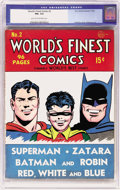 Golden Age (1938-1955):Superhero, World's Finest Comics #2 (DC, 1941) CGC FN+ 6.5 Light tan to off-white pages. A name change from World's Best Comics get...