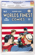Golden Age (1938-1955):Superhero, World's Finest Comics #6 (DC, 1942) CGC VF- 7.5 Off-white pages. Superman, Batman, and Robin greet a couple of America's fig...