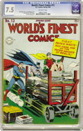 Golden Age (1938-1955):Superhero, World's Finest Comics #13 (DC, 1944) CGC VF- 7.5 Off-white pages. This issue's Superman, Batman, and Robin cover illustratio...
