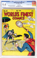 """Golden Age (1938-1955):Superhero, World's Finest Comics #25 Davis Crippen (""""D"""" Copy) pedigree (DC, 1946) CGC NM 9.4 White pages. Finding one of these square b..."""