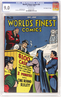 """World's Finest Comics #28 Davis Crippen (""""D"""" Copy) pedigree (DC, 1947) CGC VF/NM 9.0 Off-white pages. This one..."""