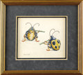 "Animation Art:Production Drawing, Walt Disney Studios - ""Fantasia"" Production Drawing Animation Art(Disney, 1940). Two beetles share the joy of music, in thi..."