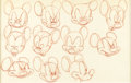 Animation Art:Production Drawing, Walt Disney Studios - Mickey Mouse Model Sheet Original Art(Disney, undated). Expressive sheet of Mickey Mouse facial poses...