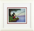 "Animation Art:Production Cel, Mickey Mouse ""The Simple Things"" Animation Cel and Background (WaltDisney, 1953). Mickey's at the old fishing hole, rod and..."