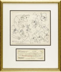 "Animation Art:Production Drawing, Walter Lantz - ""Poop Deck Pirate"" Model Sheet Animation Art andSigned Payroll Check (Walter Lantz Productions, 1961). ..."