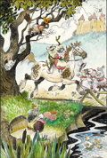 Original Comic Art:Sketches, Mel Crawford - Hand Colored Frog Rider Fairy Tale Illustration Original Art (undated). Froggy a'riding he did go, in this li...