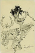 Original Comic Art:Sketches, Frank Frazetta - Ape Dance Sketch Original Art (undated). A savage figure, with his knife drawn, dances with two apes. Note ...