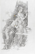 """Original Comic Art:Sketches, Jose Gonzalez - """"Eternal Flame"""" Illustration Original Art (undated). Drawn in pencil on gessoed masonite (and accented with ..."""