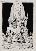 Original Comic Art:Covers, Steve Lightle - Red Sonja: Death in Scarlet Cover Original Art(Cross Plains Comics, 1999). Red Sonja, warrior woman out of ...