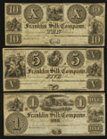 Obsoletes By State:Ohio, Franklin, OH- Franklin Silk Company $1, $5, $10 18__ RemaindersWolka 1124 -01,-04, -05. ... (Total: 3 notes)