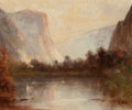 Paintings, THOMAS HILL (British/American, 1829-1908). Yosemite Valley. Oil on canvas. 10 x 12 inches (25.4 x 30.5 cm). Signed lower...