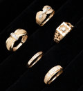 Estate Jewelry:Rings, A Lot of Five Diamond & Gold Rings. ... (Total: 5 Items)