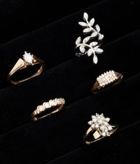 A Lot Of Five Diamond Gold Rings