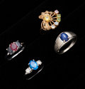 Estate Jewelry:Rings, Four Gemstone & Gold Rings. ... (Total: 4 Items)