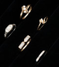 Estate Jewelry:Rings, A Lot Of Five Gold & Diamond Rings. ... (Total: 5 Items)