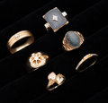 Estate Jewelry:Rings, A Lot Of Six Gold Rings. ... (Total: 6 Items)