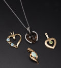 Estate Jewelry:Pendants and Lockets, Four Gold Pendants. ... (Total: 4 Items)