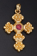 Estate Jewelry:Pearls, Cabochon Ruby & Gold Cross Pendant. ...