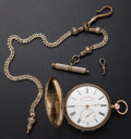 "Timepieces:Pocket (pre 1900) , Tobias ""Railroad Time Keeper"" 18k Gold Hunter's Case Pocket Watch...."