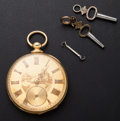 Timepieces:Pocket (pre 1900) , Swiss 18k Gold Key Wind Pocket Watch. ...