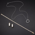 Estate Jewelry:Other , CZ Gold Bracelet Earrings & Pendant. ... (Total: 3 Items)