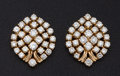 Estate Jewelry:Earrings, Diamond Cluster & 18k Gold Earrings. ...