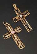 Estate Jewelry:Pendants and Lockets, Two Gold Cross Pendants. ... (Total: 2 Items)