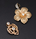 Estate Jewelry:Pendants and Lockets, Two Diamond & Gold Pendants. ... (Total: 2 Items)