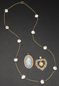 Estate Jewelry:Other , Wedgewood Cameo Pin Heart Pendant & Baroque Pearl Necklace. ... (Total: 3 Items)