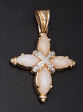 Estate Jewelry:Pendants and Lockets, Coral & Diamond Gold Cross Pendant. ...