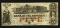 Obsoletes By State:Rhode Island, Providence, RI- Bank of the Republic $5 Aug 17, 1855 G8a Durand 1088. ...