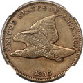 Proof Flying Eagle Cents, 1856 1C PR53 NGC. CAC. Snow-3....