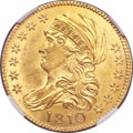 Early Half Eagles, 1810 $5 Large Date, Large 5 MS64 NGC. BD-4, R.2....