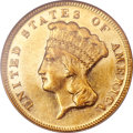 Three Dollar Gold Pieces, 1873 $3 Closed 3 AU58 NGC....