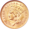 Three Dollar Gold Pieces, 1860 $3 MS64 NGC. CAC....