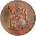 Patterns, 1871 $1 Standard Silver Dollar, Judd-1123, Pollock-1259, R.7, PR65Red and Brown PCGS. CAC....