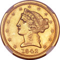 Liberty Half Eagles, 1842-C $5 Large Date MS62 NGC. Variety 1....