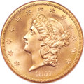 Liberty Double Eagles, 1857-S $20 MS66 NGC. Variety 20A....